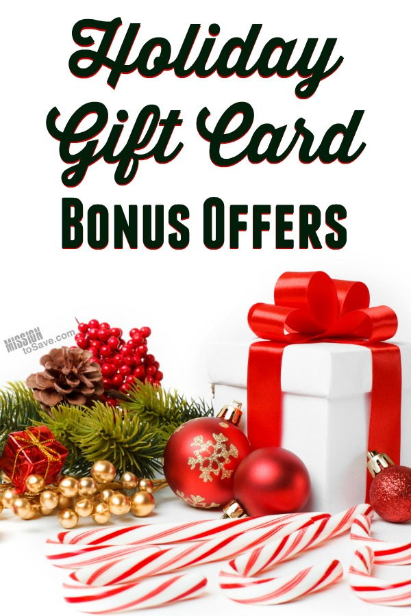 Tis the Season for Holiday Bonus Gift Card Offers! This time of year many Restaurants (and some retailers) will offer gift card bonus offers. Use the bonus yourself or pass it on as a gift too. Either way, now is the time to stock up.