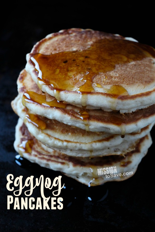 Try this delicious Eggnog Pancakes Recipe- it's the perfect way to start your day this season! Tastes like the holidays!