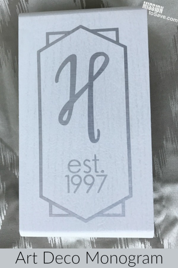 From outdated to updated wooden doorbell cover! Create an art deco vinyl monogram with Cricut Explore Air machine.  Perfect to personalize many home decor items.