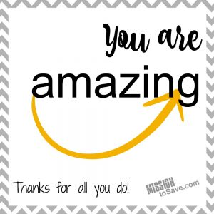 """""""You are Amazing"""" Amazon Gift Card Printable - Perfect for Teacher Gifts. Use these Free Printable gift tags to make giving Amazon gift cards cute and easy! Also great for coaches and coworker appreciation."""