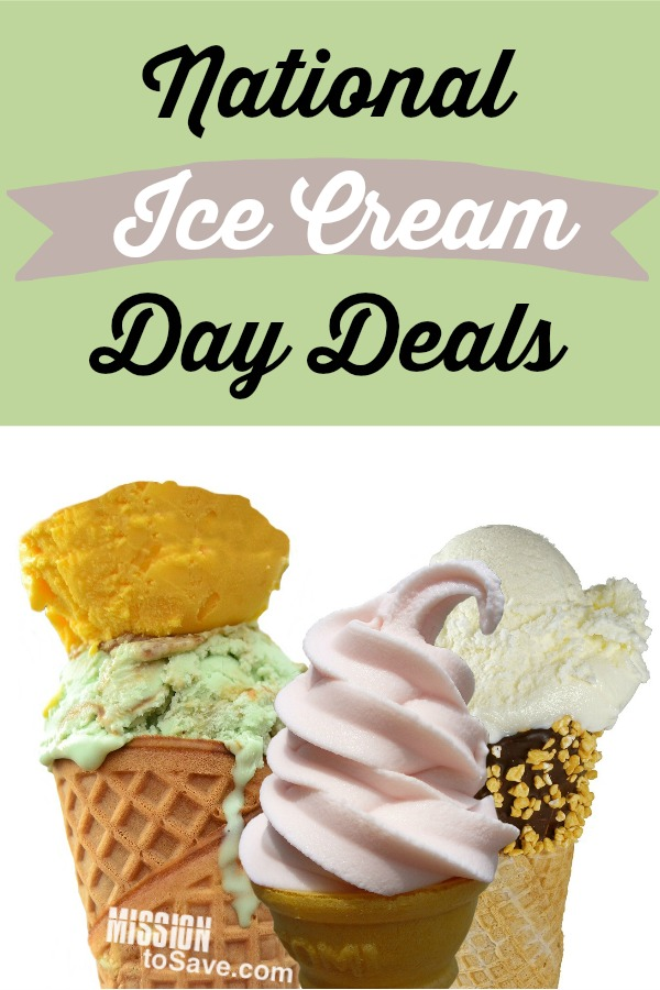 Ice cream cones and text National Ice Cream Day Deals