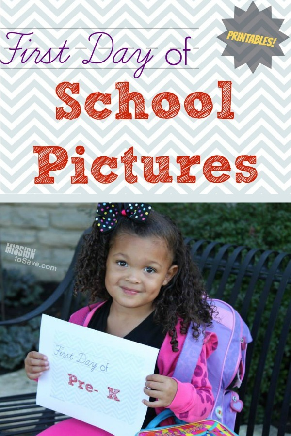 child holding first day of school printable sign