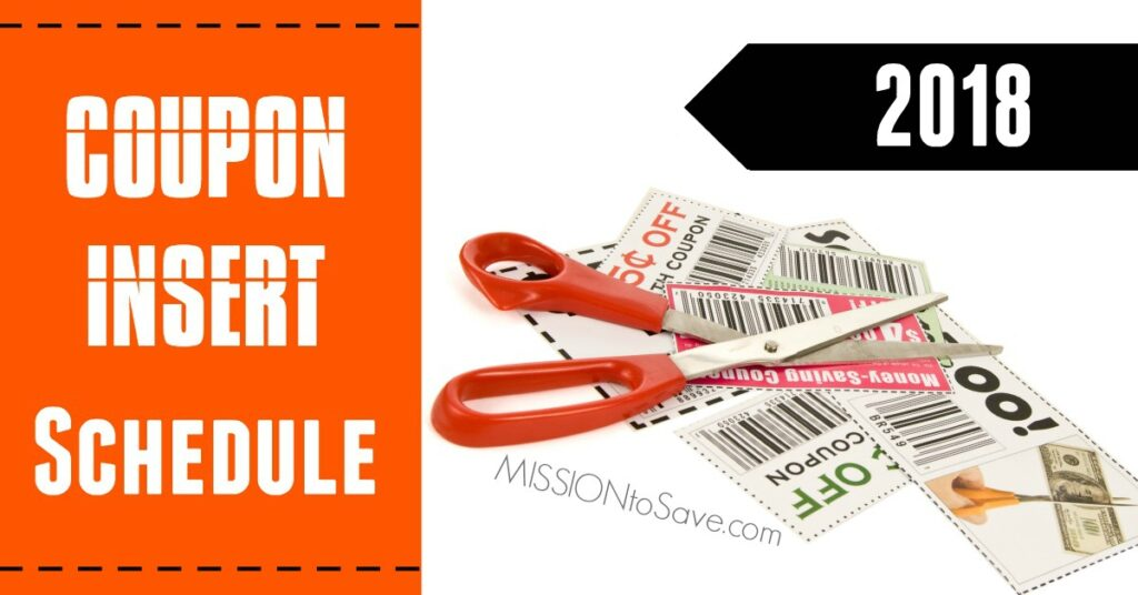 View the full 2018 Coupon Insert Schedule to see what coupons will be in your Sunday Newspaper each week.