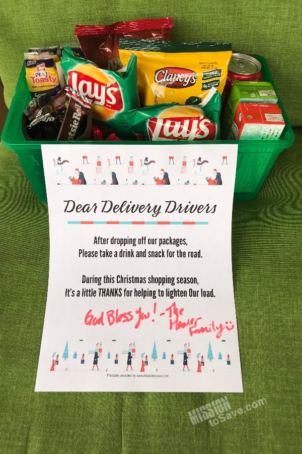 delivery driver snacks and printable sign